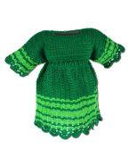 Вязаное платье для девочки. Зеленое