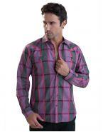Модная мужская рубашка длинный рукав графитово-сиреневая крупная клетка