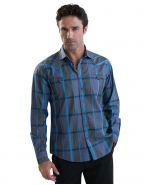 Модная мужская рубашка длинный рукав графитово-синяя крупная клетка