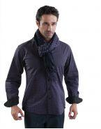 Модная мужская рубашка длинный рукав, фиолетовая и черная клетка