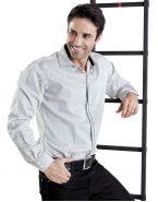 Модная мужская рубашка длинный рукав белая и черная клетка