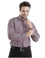 Модная мужская рубашка длинный рукав в полоску