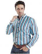 Модная мужская рубашка динный рукав, в полоску