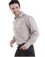Модная мужская рубашка длинный рукав, бежевая в клетку