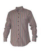 Модная мужская рубашка длинный рукав, трехцветная полоска