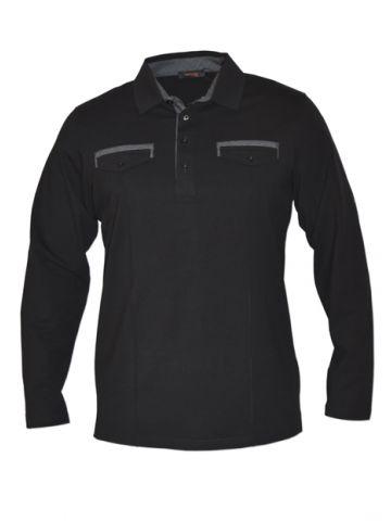 Мужская рубашка поло длинный рукав черная