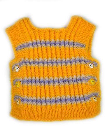 Детский вязаный жилет желтый