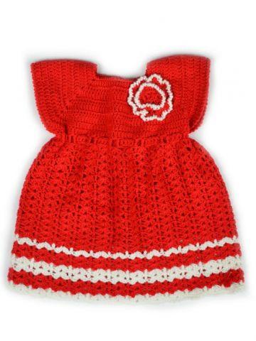 Вязаное платье для девочки красное
