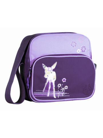 Сумка детская через плечо квадратная мини фиолетовая.