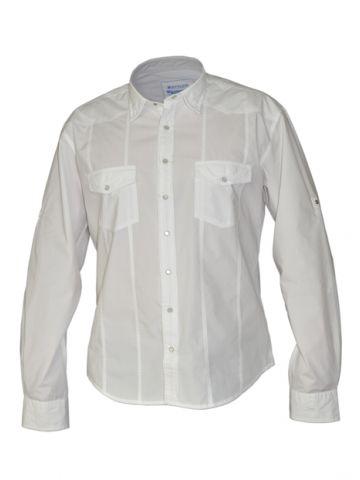 Модная мужская рубашка длинный рукав, белая, с двумя карманами и двойной планкой