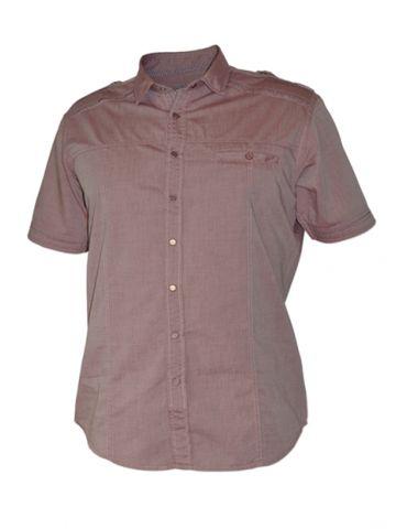 Модная мужская рубашка короткий рукав, сиреневая на кнопках