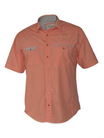 Модная мужская рубашка короткий рукав, цвет коралловый