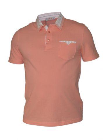 Мужская рубашка поло короткий рукав, цвет коралловый