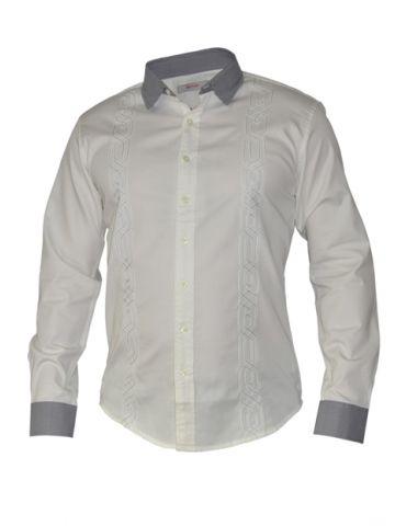 Модная мужская рубашка длинный рукав, белая с прострочкой спереди