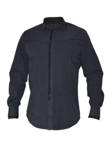 Модная мужская рубашка длинный рукав графитовая