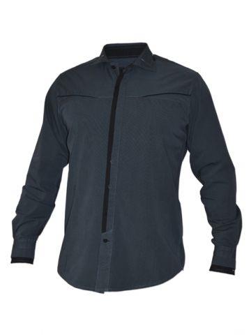 Модная мужская рубашка цвета морской волны, длинный рукав
