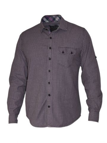 Модная мужская рубашка длинный рукав мелкая лиловая и черная клетка