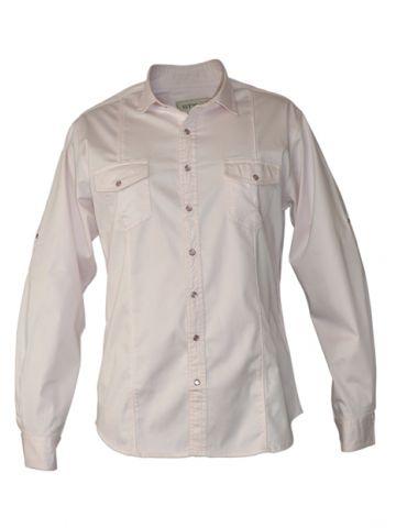 Модная мужская рубашка длинный рукав светло-розовая