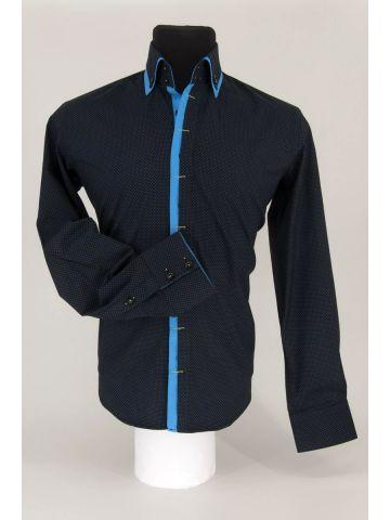 Модная мужская рубашка с двойным воротником RAMSZI черная