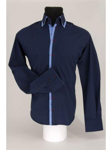 Модная мужская рубашка с двойным воротником RAMSZI темно-синяя