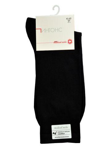 Медицинские носки черные с нитью серебра 5%. Хлопок.