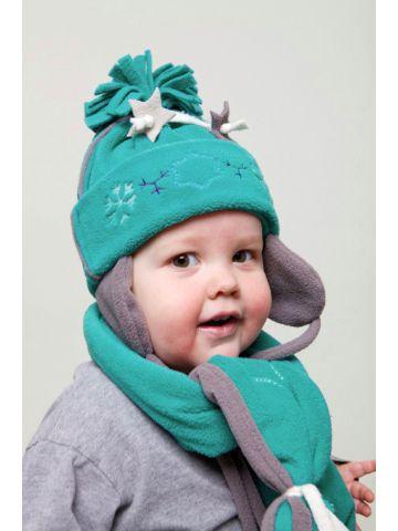 Шапочка и шарф.Коллекция Artisan Fringes. Зеленый.