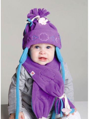 Шапочка и шарф.Коллекция Artisan Fringes. Фиолетовый.