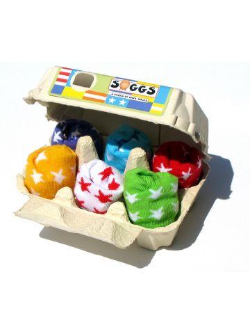 Носки в яичной коробке. Звезды, разноцветные. 6 пар.
