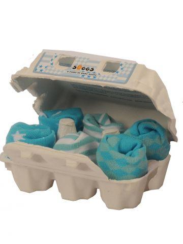 Носки голубые в яичной коробке. 6 пар.
