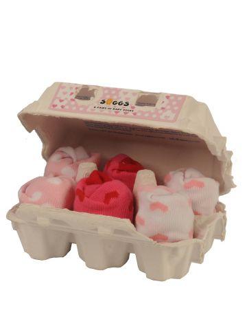 Носки розовые в яичной коробке. 6 пар.