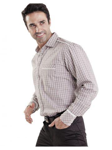 Рубашка длинный рукав, бежевая в клетку Интернет магазин HUNKY DORY брендовые рубашки от Styler