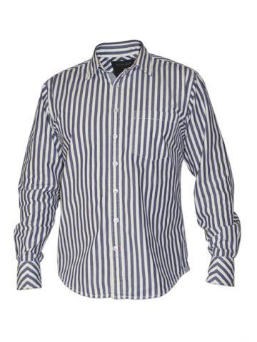 Модная мужская рубашка длинный рукав, в сине-белую полоску