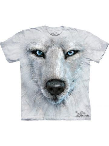 Футболка Mountain. White Wolf Face.