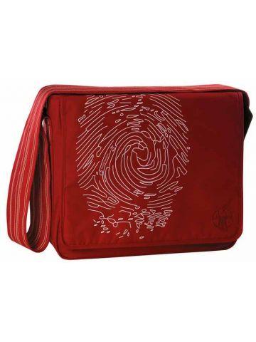 Сумка с длинной ручкой Мессенджер отпечаток пальца красный