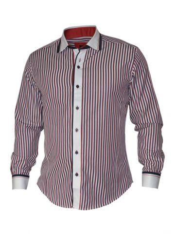 Модная мужская рубашка длинный рукав, красные и синие полосы