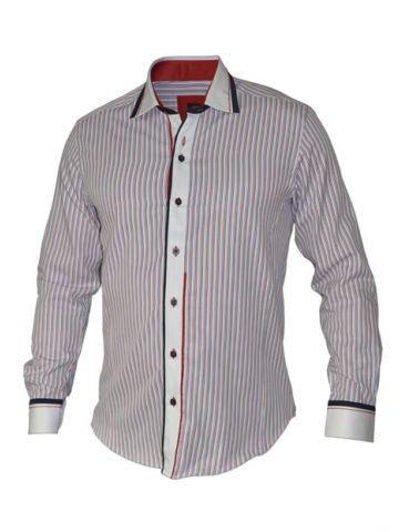 Модная мужская рубашка длинный рукав, красные, синие и серые полосы