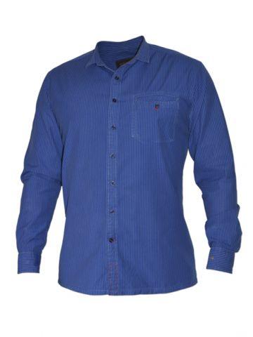 Модная мужская рубашка длинный рукав, синяя в темно-синюю полоску