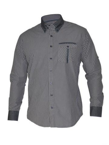 Модная мужская рубашка длинный рукав, светлая и серая полоски