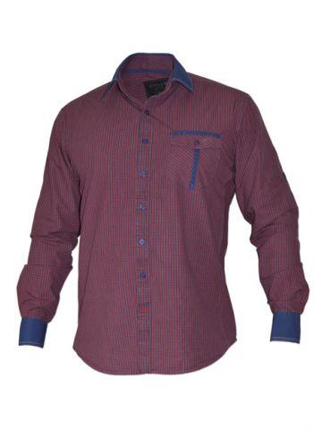 Модная мужская рубашка длинный рукав, фуксия с синей отделкой