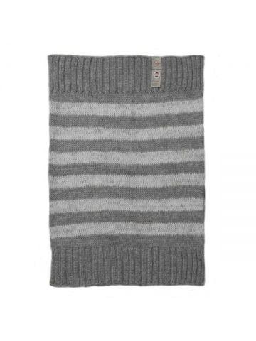 Детское одеяло вязаное. Серое полосатое.