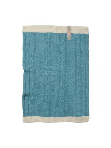 Детское одеяло вязаное. Голубое.