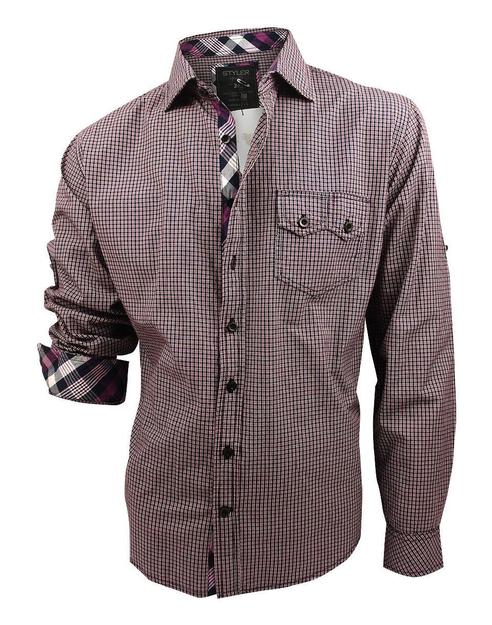 3443062b305 Модная мужская рубашка длинный рукав мелкая лиловая и черная клетка